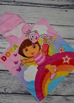 Фирменное детское полотенце пончо девочке махровое даша путешественница dora