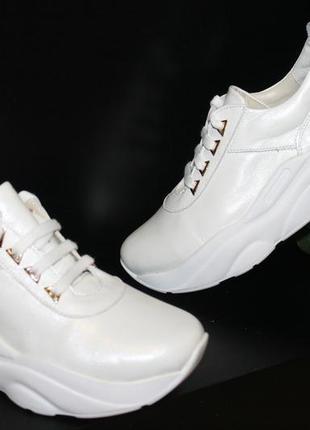 Белые кроссовки, кожа натуральная, 36-41р