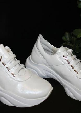 Белые кроссовки, кожа натуральная, 36-41р3 фото