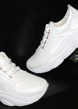 Белые кроссовки, кожа натуральная, 36-41р4 фото