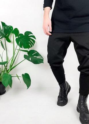Скидка! мужские черные зауженные и укороченные штаны