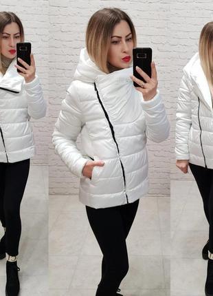 Белая женская куртка парка наполнитель силикон 150 верх элит плащевка