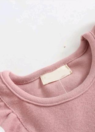 Платье розовое с оборками с воланами2 фото