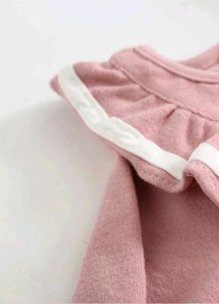 Платье розовое с оборками с воланами3 фото