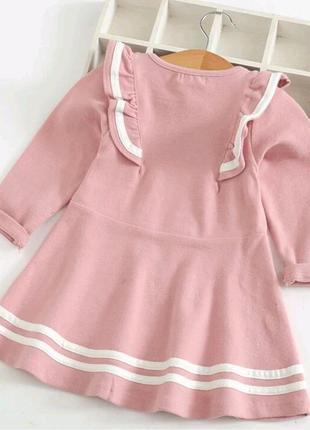 Платье розовое с оборками с воланами5 фото