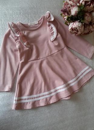 Платье розовое с оборками с воланами6 фото