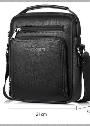 Мужская черная пу кожа сумка кроссбоди wexer с ручкой, из кожзама