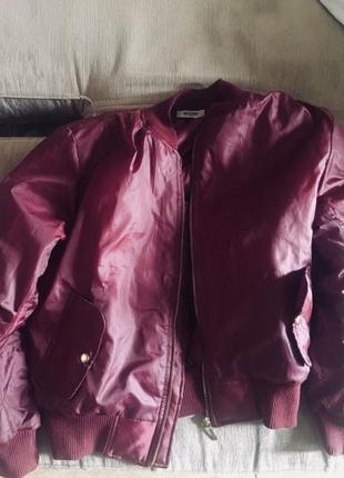 Бомбер куртка весенняя бордовая оверсайз унисекс