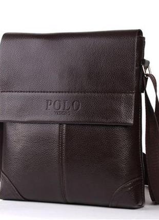 Мужская сумка, барсетка поло, коричневая, пу кожа. супер качество