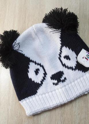 Стильная шапка панда с ушками на 46-55 обьём головы