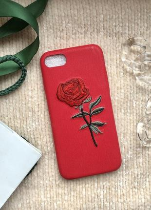 Красный чехол на айфон 7 iphone 7 с вышитой розой нашивка