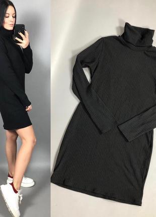 Платье черное гольфом в рубчик под горло prettylittlething2