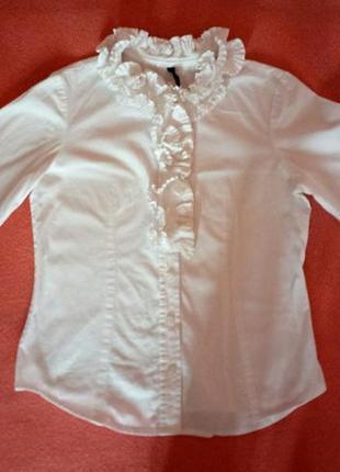 Блуза коттон белая жабо, 7-8 лет, италия