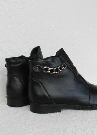 Демисезонные кожаные ботильоны, ботинки 39, 40 размера на низком ходу