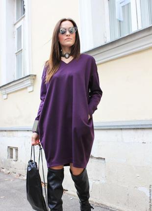 Теплое платье оверсайз с карманами