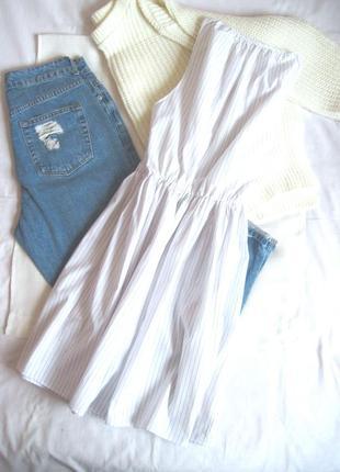 Базовое летнее платьице в полоску из хлопка oodji