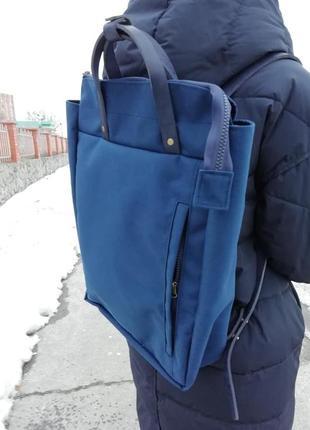 """Сумка-рюкзак для ноутбука из """"кордуры"""" и натуральной кожи."""