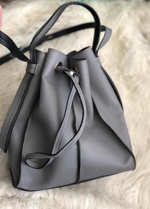 Крутая сумка мешок zara, серого цвета