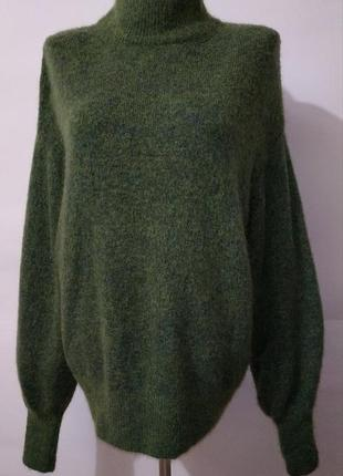 Шерстяной мохеровый зеленый свитер под горло h&m. uk 10-12