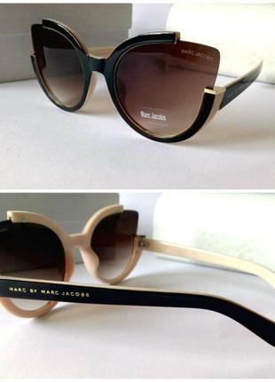 Женские красивые солнцезащитные очки коричнево-бежевые идеальная посадка
