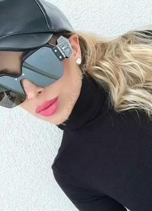 Женские крупные очки оверсайз черные тренд сезона