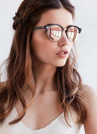 Стильные полуободковые розовые зеркальные очки