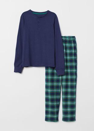 Новая пижама h&m, костюм для дома, кофта и фланелевые штаны в клетку