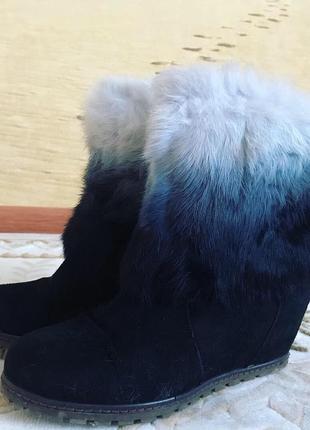 Натуральные замшевые зимние ботинки, сапоги