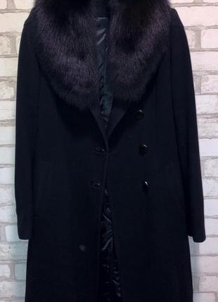 Кашемировое пальто kent с песцовым воротником