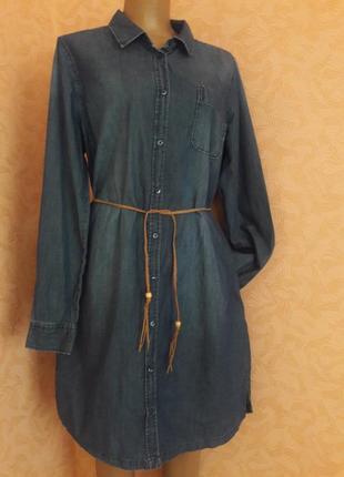 Супер стильное джинсовое платье рубашка