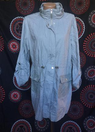 Длинная весенняя куртка с ажурными вставками 44 р
