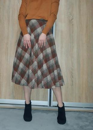 Винтажная  терракотовая шерстяная юбка-миди  плиссе в клетку на высокой посадке
