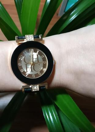 Часы женские кварцевые черные силикон