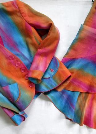 Sensa donna/итальянский льняной костюм /яркий костюм из льна с эффектом градиента 🇮🇹1