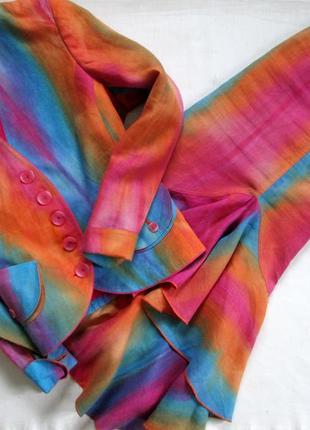 Sensa donna/итальянский льняной костюм /яркий костюм из льна с эффектом градиента 🇮🇹2