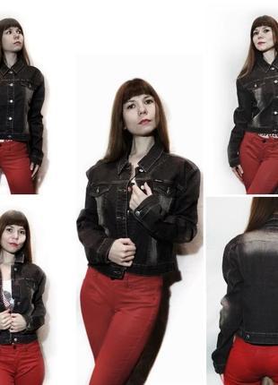 Джинсовая куртка темно серая жакет джинсовый классика