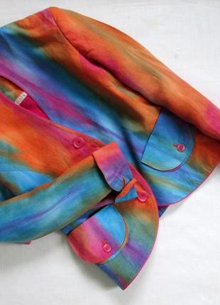 Sensa donna/итальянский льняной костюм /яркий костюм из льна с эффектом градиента 🇮🇹4