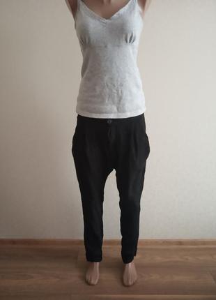 Штаны,брюки с мотней,классика, зауженные,черный,галифе