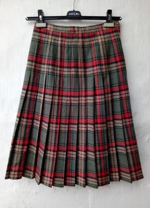 Актуальная теплая шерстяная юбка плиссе в клетку,складки,шотланка.