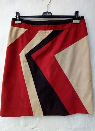 Вельветовая разноцветная трапеция юбка,кэжуал,большой размер,шолк.