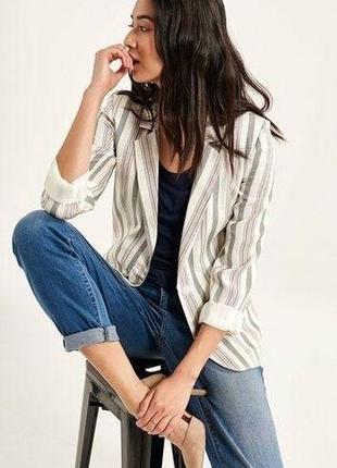 Супер легкий натуральный льняной блейзер пиджак в полоску премиальное качество