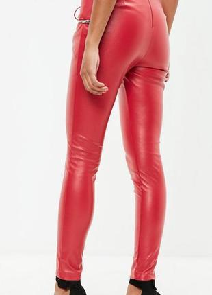 Кожаные леггинсы лосины штаны эко кожа pu с завышенной посадкой и замочками3 фото