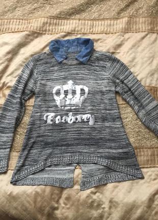 Кофта / свитер / кофта с джинсовым воротничком/ свитер с джинсовым воротником / джемпер