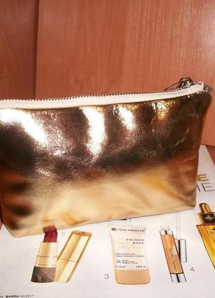 Косметичка золотая из натуральной кожи.супер цена!