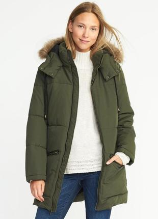 Фирменный очень теплый пуховик парка  куртка  geox красивого цвета хаки с мехом лисы
