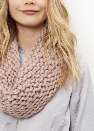 Новый розовый вязанный шарф хомут, снуд крупной вязки new look