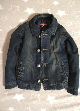 Классная утепленная джинсовая куртка пиджак на 4 года