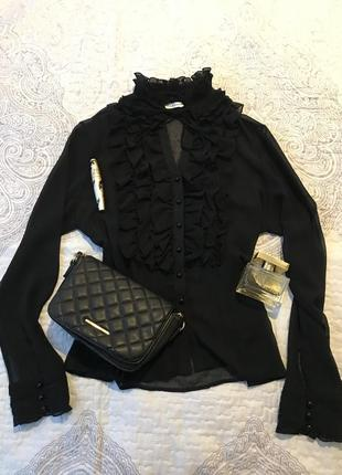 Прозрачная чёрная блузка с жабо serpil