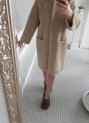 Шуба из натуральной овчины меховое пальто  мех 100% шерсть кашемир