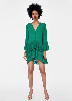 Платье zara оригинал блуза плиссированное бирюза с оборками рюшами